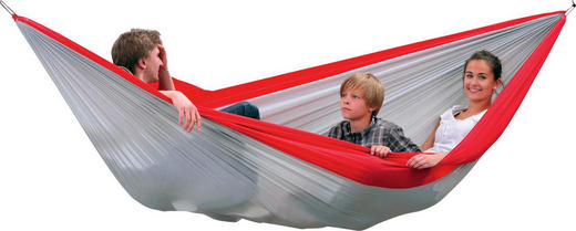 HÄNGEMATTE Synthetikfaser Rot, Silberfarben - Rot/Silberfarben, Basics, Textil (320/230cm)