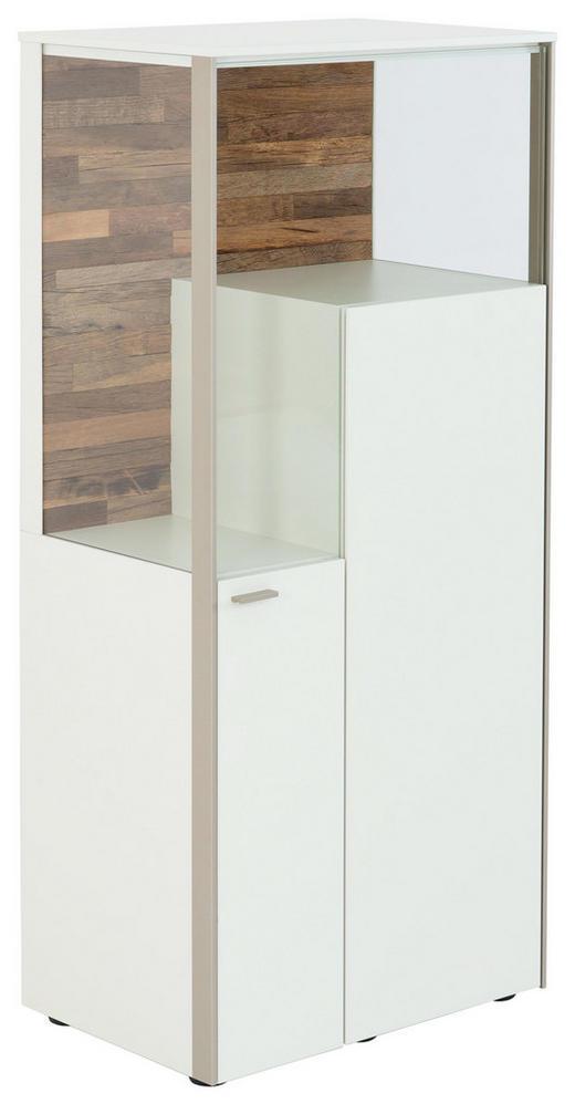 HIGHBOARD lackiert, matt Weiß - Edelstahlfarben/Schwarz, KONVENTIONELL, Glas/Holzwerkstoff (62/139/43cm) - Venjakob