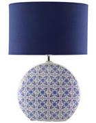 NAMIZNA SVETILKA - modra/bela, Trendi, tekstil/keramika (15/44/15cm)