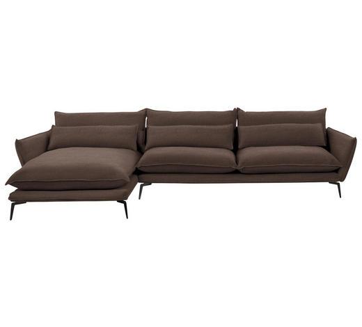 WOHNLANDSCHAFT in Textil Braun - Schwarz/Braun, Design, Textil/Metall (165/338cm) - Hom`in