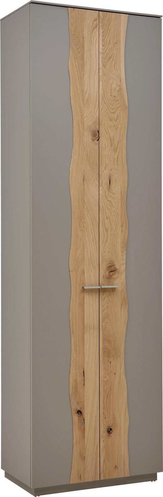GARDEROBENSCHRANK Wildeiche massiv lackiert Fango, Naturfarben - Fango/Edelstahlfarben, Design, Holz/Metall (61/200/36cm) - Dieter Knoll