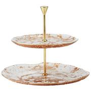 Etažer VELLUTO - zlata/bela, Konvencionalno, kovina/steklo (28/23cm) - Leonardo