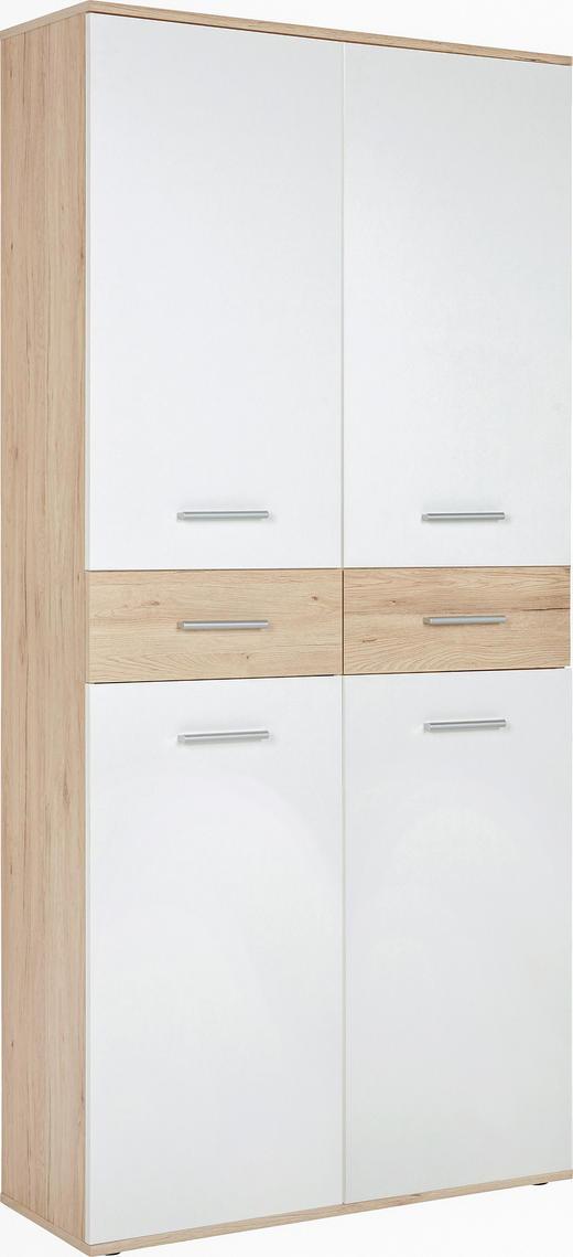 SCHUHSCHRANK Eichefarben, Weiß - Eichefarben/Silberfarben, Design, Holzwerkstoff/Kunststoff (90/195/35cm) - Xora