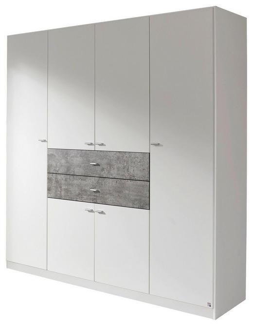DREHTÜRENSCHRANK 6-türig Grau, Weiß - Alufarben/Weiß, Design, Holzwerkstoff/Kunststoff (181/197/54cm) - Carryhome