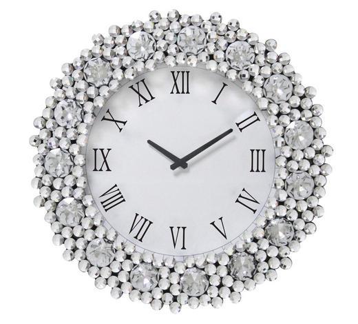 WANDUHR  Schwarz, Silberfarben, Weiß 52 cm - Silberfarben/Schwarz, Trend, Glas (52cm) - Ambia Home