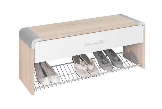 GARDEROBENBANK Sonoma Eiche, Weiß - Silberfarben/Weiß, Design, Holzwerkstoff/Kunststoff (97/40/32cm) - Moderano