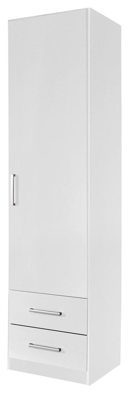DREHTÜRENSCHRANK 1-türig Weiß - Silberfarben/Weiß, Design, Holzwerkstoff/Kunststoff (47/197/54cm) - Carryhome