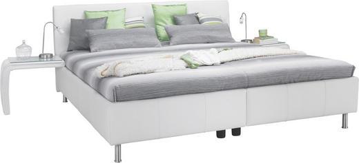POLSTERBETT 200/220 cm - Alufarben/Weiß, KONVENTIONELL, Leder/Textil (200/220cm) - ADA AUSTRIA