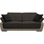 SCHLAFSOFA in Textil Beige, Braun, Schwarz - Chromfarben/Beige, Design, Holz/Textil (214/83/95cm) - Venda