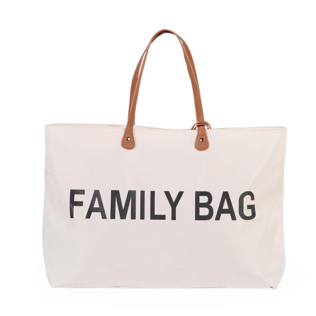 Childhome Einkaufstasche Childhome Family Bag , Weiß , Textil , Uni , 18x40x55 cm , verschließbar, großes Hauptfach , Ordnen & Aufbewahren, Reisegepäck