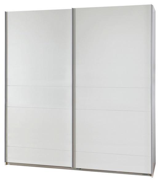 SCHWEBETÜRENSCHRANK 2-türig Weiß - Silberfarben/Weiß, Design, Holzwerkstoff/Metall (135/198/64cm) - Carryhome