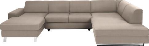 WOHNLANDSCHAFT Beige Webstoff - Chromfarben/Beige, Design, Textil/Metall (157/350/198cm) - Venda