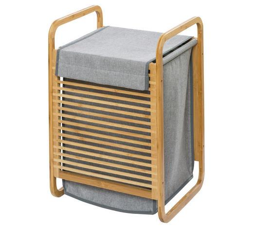 KOŠ NA PRÁDLO, hnědá, šedá - šedá/hnědá, Basics, dřevo/textil (40/60/35cm)