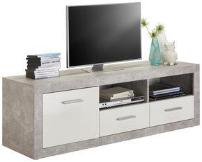 MEDIABÄNK - vit/alufärgad, Design, träbaserade material/plast (147/49/45cm) - Carryhome