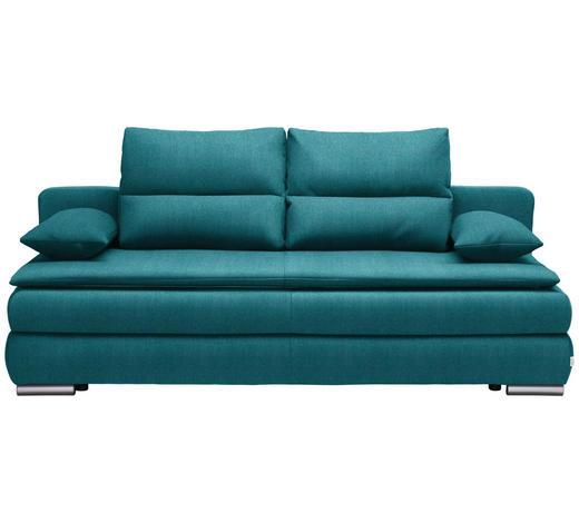 SCHLAFSOFA in Textil Petrol - Silberfarben/Petrol, KONVENTIONELL, Kunststoff/Textil (207/94/90cm) - Venda