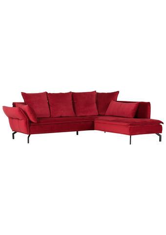 SEDEŽNA GARNITURA,  rdeča tekstil  - rdeča/črna, Trend, tekstil (262/213cm) - Landscape