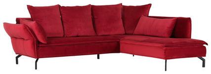 WOHNLANDSCHAFT Rot Flachgewebe  - Rot/Schwarz, Trend, Textil (262/213cm) - Landscape