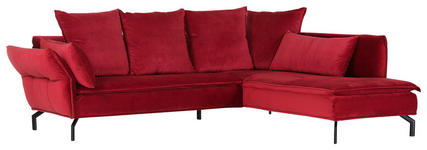 WOHNLANDSCHAFT in Textil Rot - Rot/Schwarz, Trend, Textil/Metall (262/213cm) - Landscape