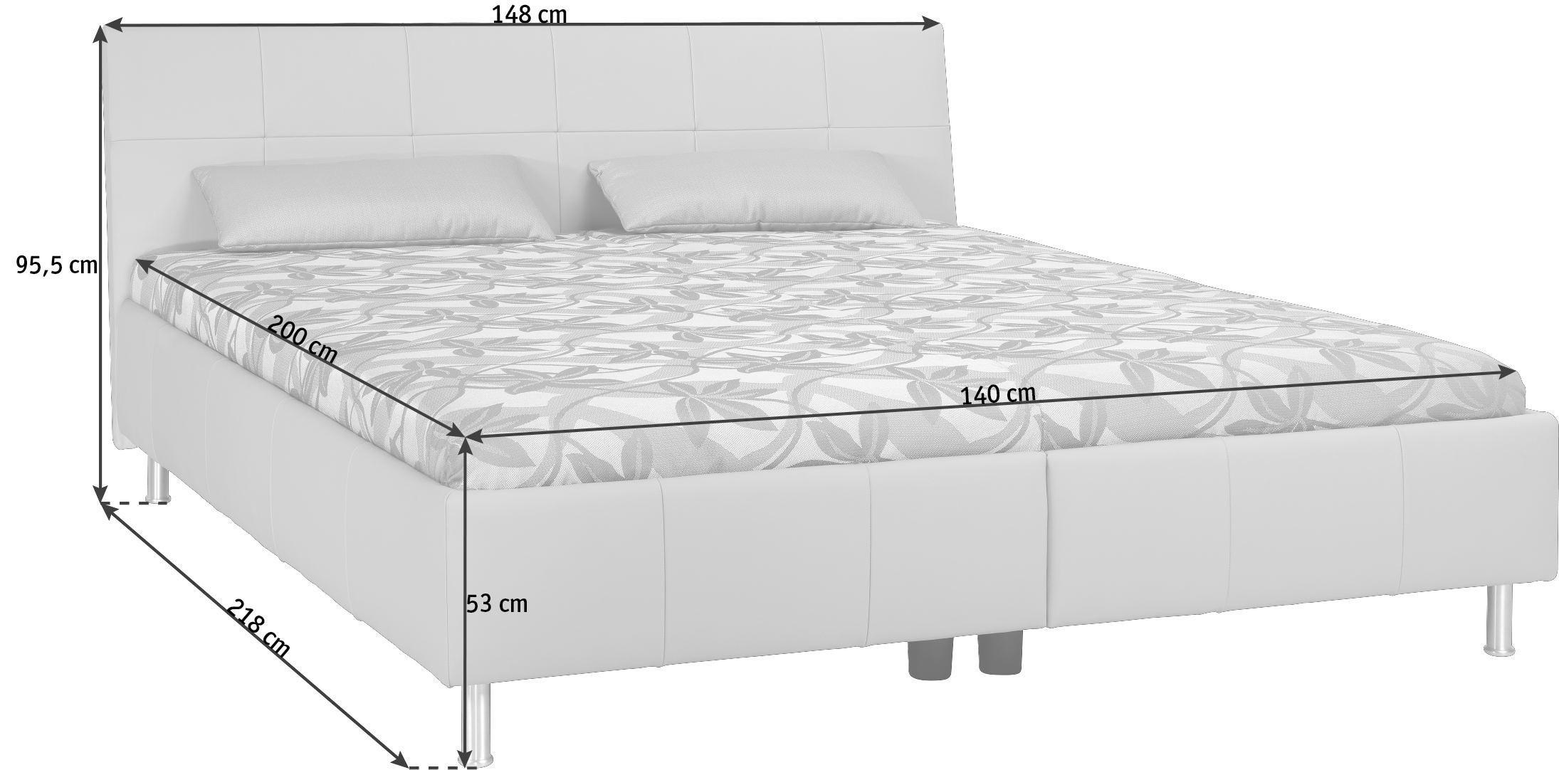 POLSTERBETT 140/200 cm - Schlammfarben/Alufarben, KONVENTIONELL, Leder/Textil (140/200cm) - ADA AUSTRIA