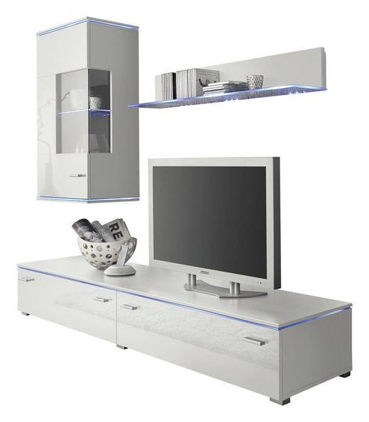 WOHNWAND Weiß - Silberfarben/Weiß, Design, Glas/Kunststoff (180/42cm) - Carryhome