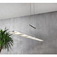 LED ZÁVĚSNÉ SVÍTIDLO - bílá/barvy chromu, Design, kov/sklo (135cm)