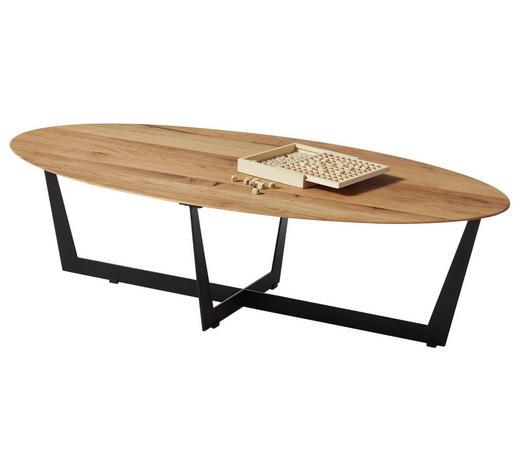 COUCHTISCH in Holz, Metall 120/60/33 cm - Eichefarben/Schwarz, Design, Holz/Metall (120/60/33cm) - Hom`in