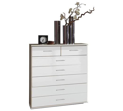 KOMODA, bílá - bílá/barvy chromu, Design, kompozitní dřevo/umělá hmota (91/103/40cm) - Xora