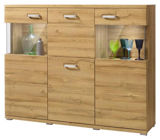 HIGHBOARD foliert Eichefarben - Eichefarben/Alufarben, Design, Glas/Holzwerkstoff (150/120,4/37,2cm) - Set one by Musterrin