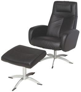 FÅTÖLJ OCH PALL - kromfärg/svart, Design, metall/läder (74/105/75cm) - Welnova