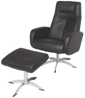 FÅTÖLJ OCH PALL - kromfärg/svart, Design, metall/läder (74/105/75cm) - Hjort Knudsen