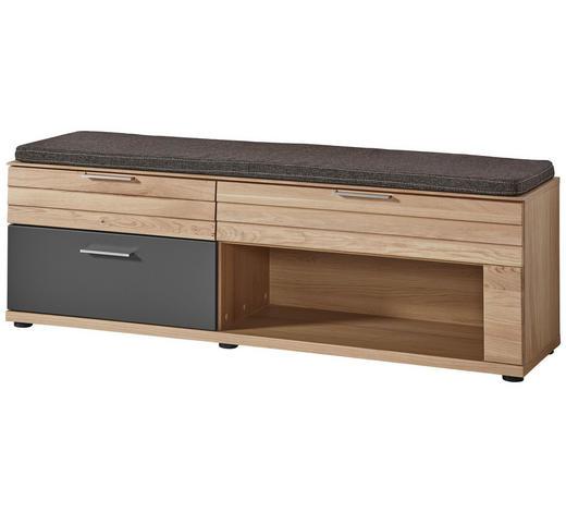 GARDEROBENBANK 150/45/40 cm  - Edelstahlfarben/Eichefarben, Natur, Holzwerkstoff/Kunststoff (150/45/40cm)