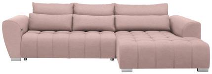 WOHNLANDSCHAFT in Textil Rosa  - Silberfarben/Rosa, MODERN, Kunststoff/Textil (304/218cm) - Carryhome