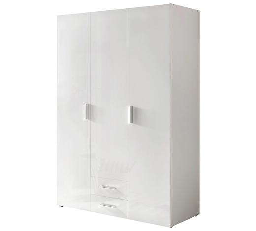 SCHRANK Hochglanz, lackiert Weiß  - Chromfarben/Weiß, KONVENTIONELL, Holzwerkstoff/Kunststoff (120/185/54cm) - Xora