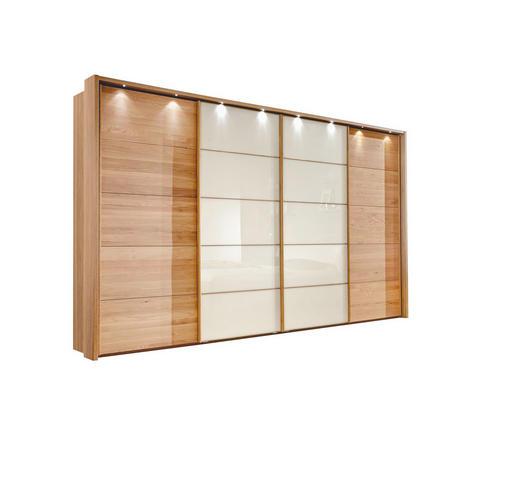 SCHWEBETÜRENSCHRANK 4  -türig Eiche teilmassiv Eichefarben, Magnolie - Eichefarben/Magnolie, Design, Glas/Holz (330/236/67cm) - LINEA NATURA