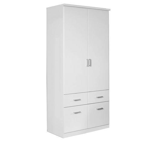 KLEIDERSCHRANK 2-türig Weiß - Silberfarben/Weiß, Design, Holzwerkstoff/Kunststoff (91/199/56cm) - Carryhome