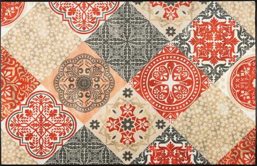 FUßMATTE 115/175 cm Graphik Beige, Rot - Beige/Rot, Kunststoff/Textil (115/175cm) - Esposa