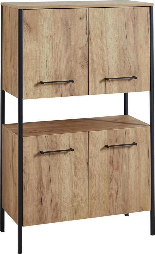 BADEZIMMERREGAL Eichefarben, Schwarz - Eichefarben/Schwarz, Design, Holzwerkstoff/Metall (75/122/35cm) - Xora