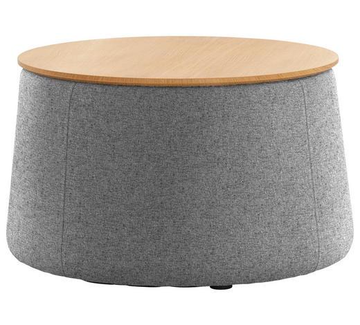 HOCKER in Holz, Textil Braun, Grau, Eichefarben  - Eichefarben/Braun, Design, Holz/Textil (77/43cm) - Innovation