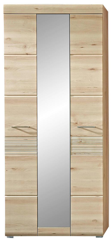 GARDEROBENSCHRANK foliert, geriffelt Buchefarben - Chromfarben/Buchefarben, KONVENTIONELL, Holzwerkstoff/Metall (84/200/40cm) - Voleo