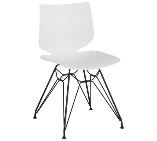 STUHL in Metall, Kunststoff Schwarz, Weiß - Schwarz/Weiß, Design, Kunststoff/Metall (49/83/51cm) - Lomoco