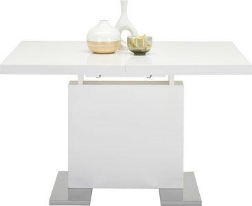 UTDRAGBART BORD - vit/kromfärg, Basics, metall/träbaserade material (120-160/76/80cm)