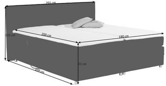 POSTEL BOXSPRING, 180 cm  x 200 cm, textilie, černá - barvy stříbra/černá, Design, textilie/umělá hmota (180/200cm) - Carryhome