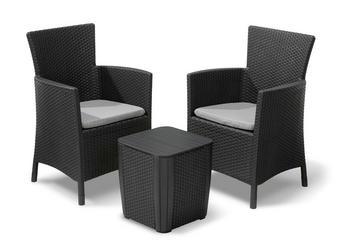 BALKONSET  5-teilig - Graphitfarben, Design, Kunststoff/Textil (62/60/89cm)