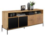 SIDEBOARD 170/74/40 cm  - Eichefarben/Schwarz, Design, Holzwerkstoff/Metall (170/74/40cm) - Carryhome