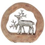 SKULPTUR - Silberfarben/Naturfarben, Natur, Holz/Metall (28,5/27/6,5cm) - Ambia Home