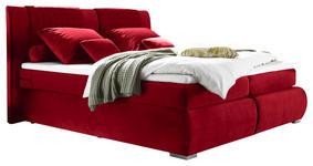 BOXSPRINGBETT 180/200 cm  in Rot  - Silberfarben/Rot, KONVENTIONELL, Holzwerkstoff/Kunststoff (180/200cm) - Carryhome