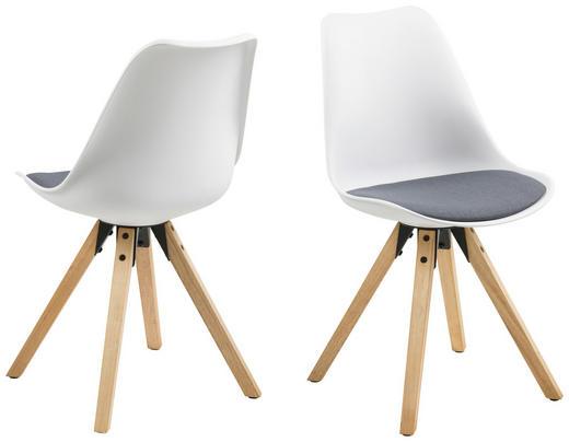 STUHL Flachgewebe Dunkelgrau, Weiß - Eichefarben/Dunkelgrau, Design, Holz/Kunststoff (48/82/56cm) - Carryhome