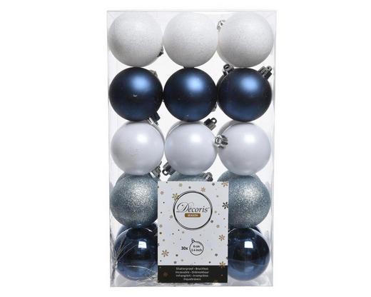 CHRISTBAUMKUGEL-SET  30-teilig Blau, Weiß - Blau/Weiß, Basics, Kunststoff (6cm)