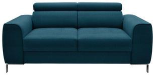 ZWEISITZER-SOFA Webstoff Türkis - Türkis/Chromfarben, Design, Textil/Metall (168/76-96/98cm) - Hom`in