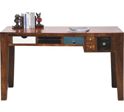 SCHREIBTISCH Mangoholz massiv Braun, Multicolor  - Multicolor/Braun, Design, Holz (135/78/60cm) - Kare-Design